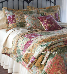 Antique Country Patchwork Full Queen Quilt Set Floral