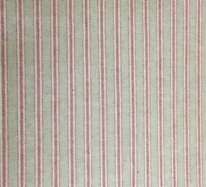 Yale-Ticking-Stripe-l-Red-amp-Linen-280cm-108-034-Wide-Curtain-Fabric