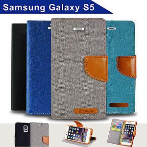 free shipping ed6db f7a95 Denim Canvas Leather Wallet Case for Samsung Galaxy S5 i9600 Card ...