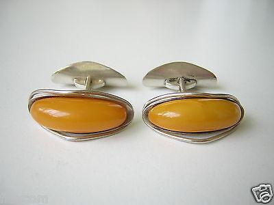 Kraftvoll Antike Natur Bernstein Manschetten Fischland Auge Flossen 835 Silber 8,8 G Amber Exquisite (In) Verarbeitung