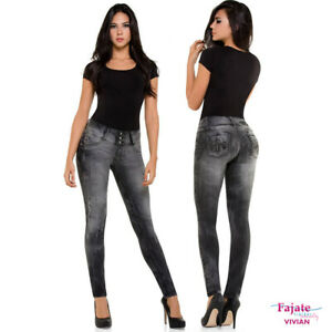 31a7a761837 Image is loading Women-Colombian-High-Waist-Jeans-Stretch-Jeggings-Levanta-