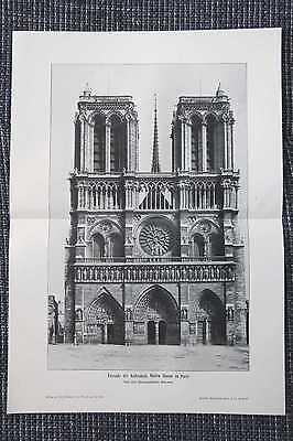 Fassade Der Kathedrale Notre Dame In Paris Druck Von 1908