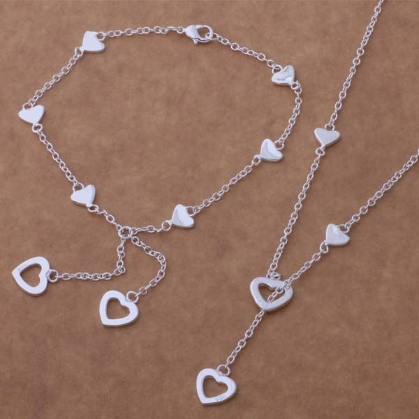 Wholesale ladies fashion Solid Silver Bracelet Earrings Ring Necklace+BOX925
