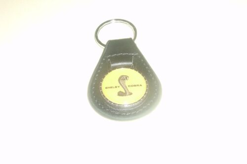SHELBY COBRA FORD MUSTANG GT350 GT500 ROUND SNAKE LOGO KEYCHAIN NEW BLACK