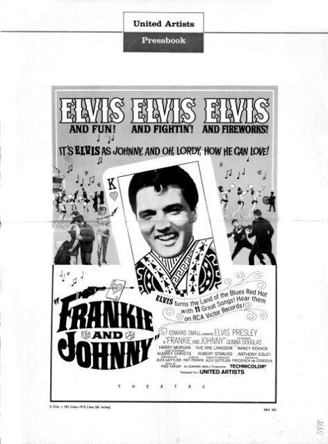 FRANKIE AND JOHNNY pressbook, Elvis Presley, Donna Douglas, Sue Ann Langdon