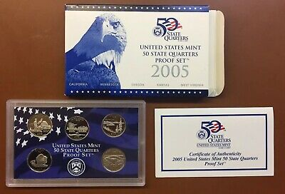 COMPLETE OGP STATE QUARTERS 2005 US SILVER PROOF SET BOX /& COA