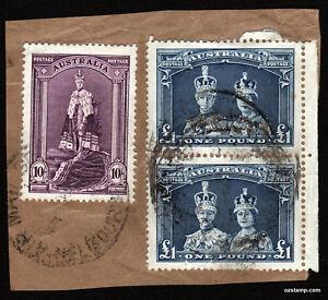 1938-Robes-KGVII-QEII-Parcel-Piece-Vertical-Pair-Air-Mail-Used-Stamp-Australia