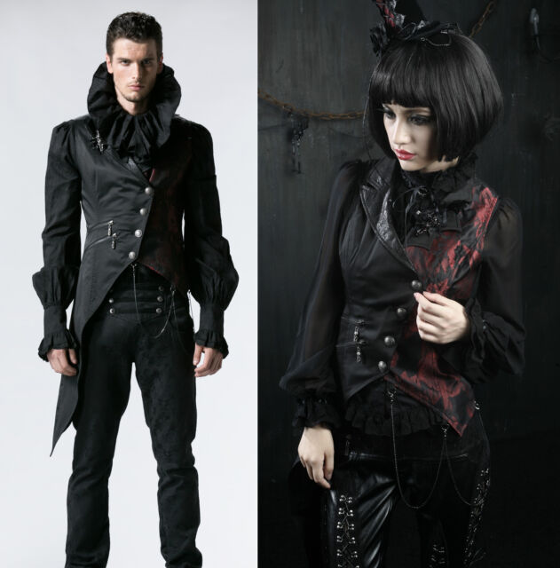 Gothic Mens Women Punk Rave Visual Kei Vest Rock fashion clothing vampire Jacket