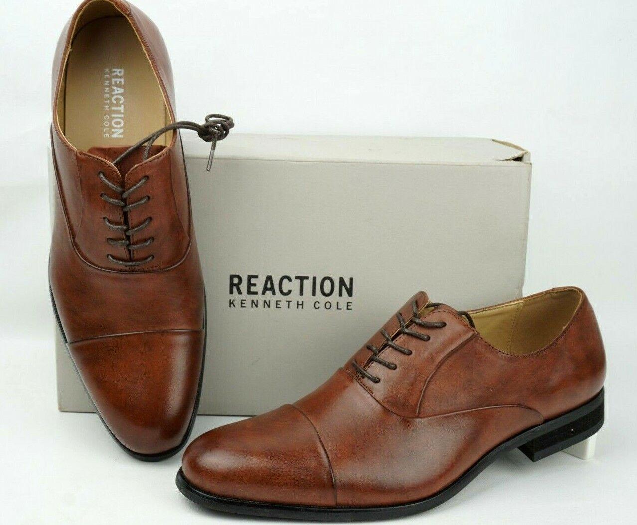 Kenneth Cole Reaction Design 213111 Mens Cognac Oxford Shoe Men Sz 9 WIDE Eur 42