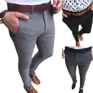 Mens-Business-Slim-FIT-Stretch-Chino-Trousers-Casual-Flat-Front-Flex-Full-Pants
