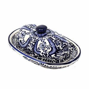 Handmade-Pottery-Butter-Dish-Blue-Flower-Encantada