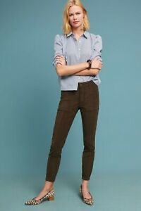 NWT-Anthropologie-Green-Corduroy-Slim-Utility-Casual-Cargo-Ankle-Crop-Pants-29