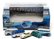 Greenlight DIORAMAS MOTOR WORLD 70's Car Wash  VOLKSWAGENS Set of 5 cars
