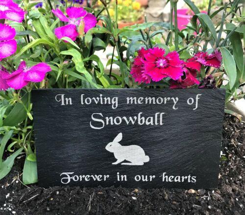 Personalizado Grabado Mascota Memorial pizarra lápida tumba marcador Placa Conejo
