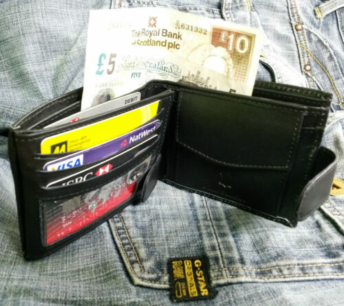 MENS QUALITY GENUINE REAL SOFT COW HIDE LEATHER CREDIT CARD HOLDER WALLET PURSE
