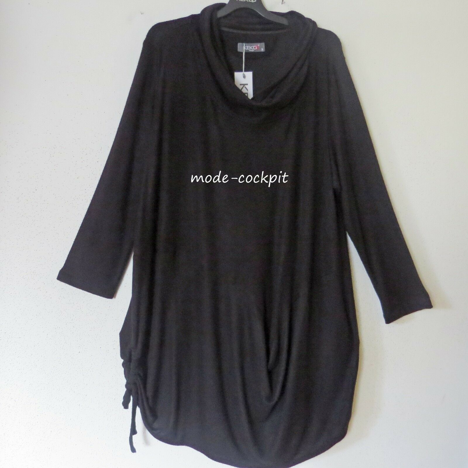 KEKOO softes Kuschel Tunika-Kleid Beulenoptik+Raffung black 52-54 (4)
