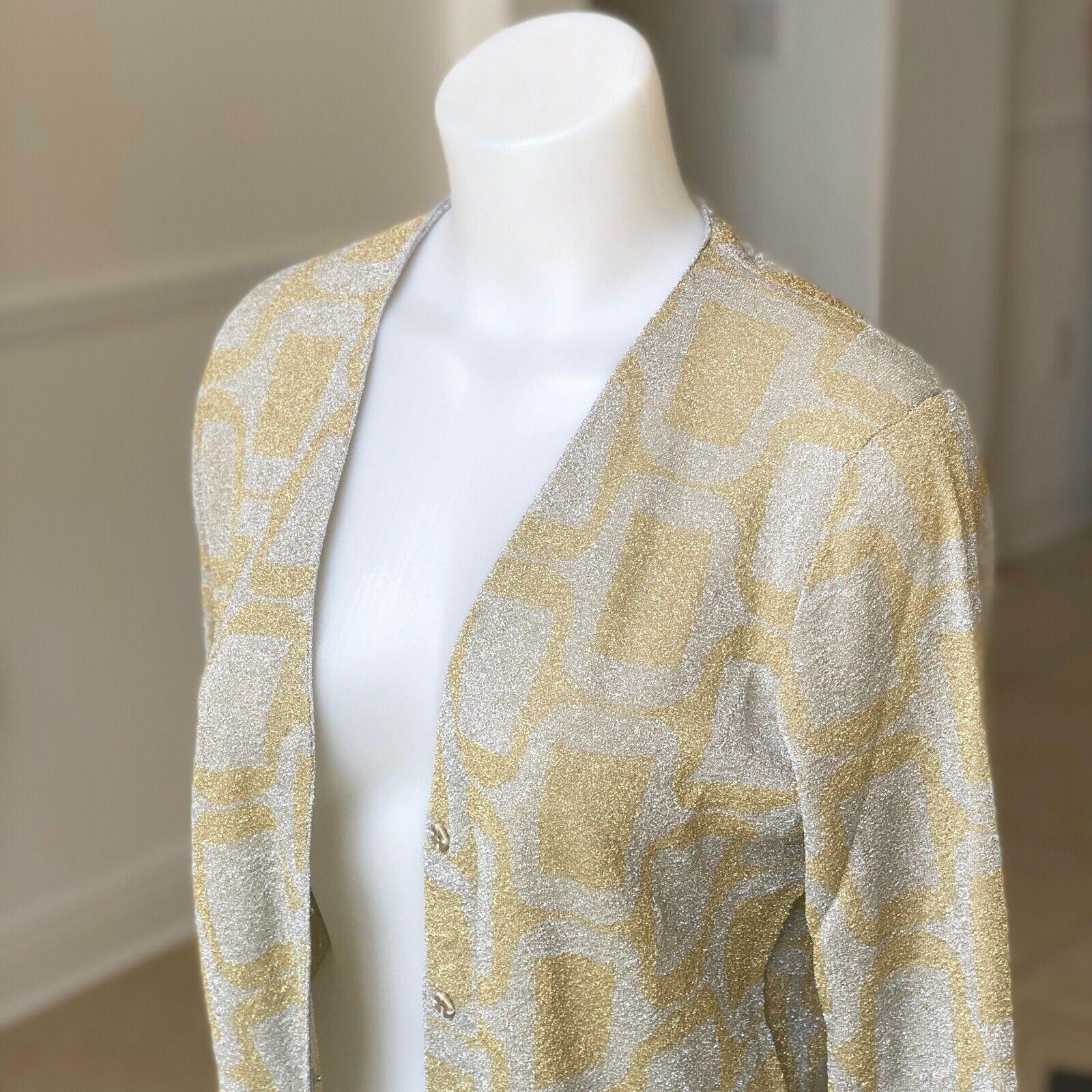ea6eaae461081e JACOBS Silber & Gold lurex cardigan damen sweater Größe Italian M Nwt MARC  nprnzp396-neue Kleidung