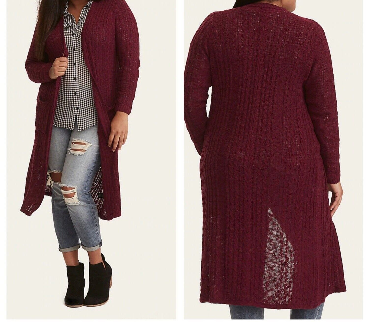 Torrid Purple Cable Knit Duster Sweater 1X 14 16