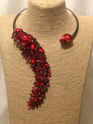 Mujer de las Señoras Declaración Grueso Largo Collar Con Diamantes Cristales y Rojo grande Grande