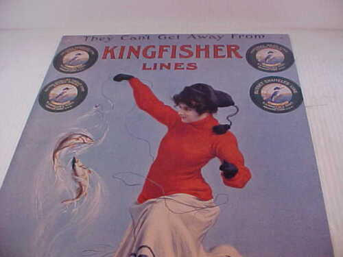 Kingfisher Lines Girl in red dress fishing  sign  #7