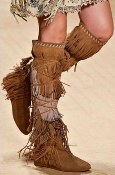 Mujeres Flecos Borlas Gamuza botas botas botas vintage hasta la rodilla Gamuza Cuña Tacón Alto Zapatos Talla  edición limitada