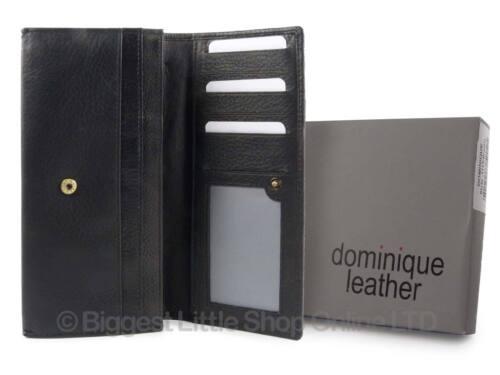 NUOVO Donna Medio Flap Over leather purse wallet da Dominique Regalo Rosso