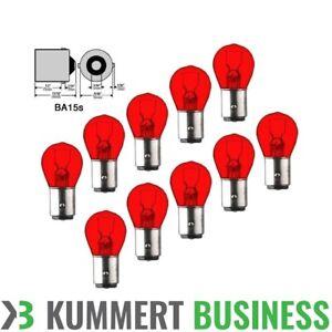 10x-P21W-12V-21W-BA15s-Rot-Bremslicht-Halogenlampen-Gluehlampen-Gluehbirnen