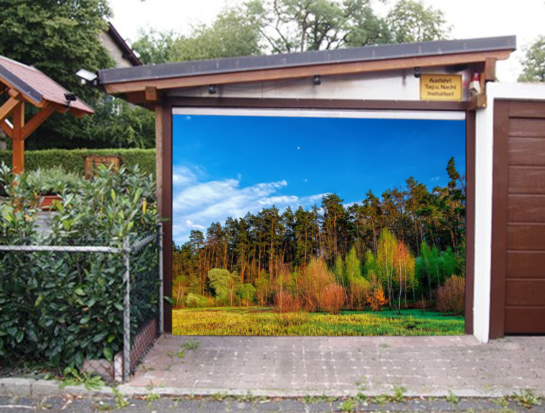 3D Forêt Ciel Bleu Garage Door Murals Wall Print Decal Wall Deco AJ WALLPAPER FR
