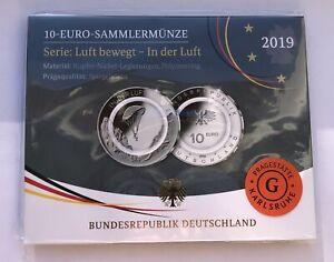 10 Euro Sammlermünze 2019 Serie: Luft bewegt - In der Luft - Prägestätte G in PP