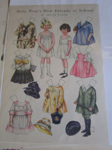 1920 Sheila Young POLLY Pratt Paper Doll NEW FRIENDS at SCHOOL UNCUT