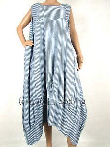NEW-Italian-Linen-Oversize-Lagenlook-Fine-Stripe-Plus-Parachute-Maxi-Dress