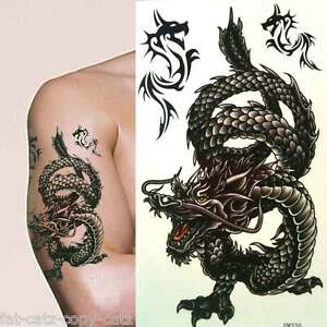 large mens boys angry black chinese dragon temporary tattoos many designs uksell ebay. Black Bedroom Furniture Sets. Home Design Ideas