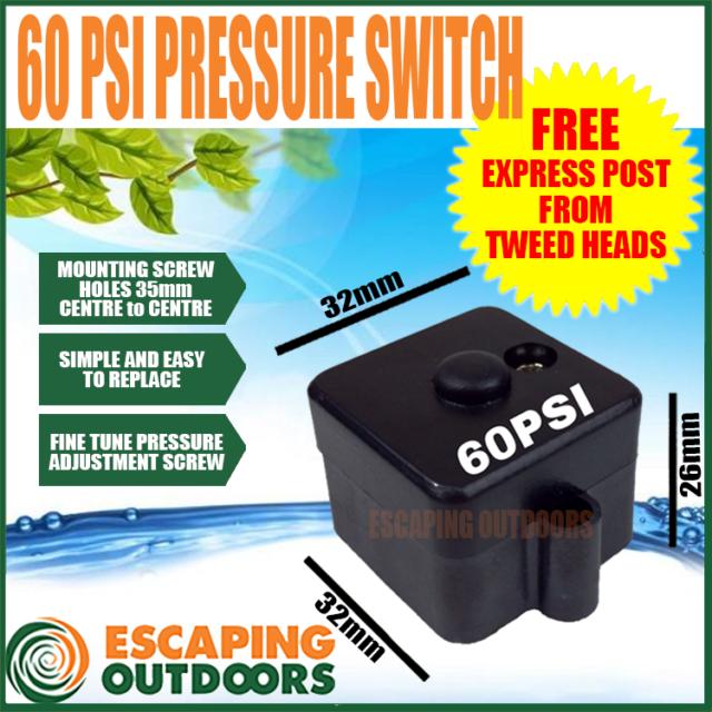 Water Pump Pressure Switch 60PSI 12V CARAVAN RV suits most brands FL PUMPS FL60