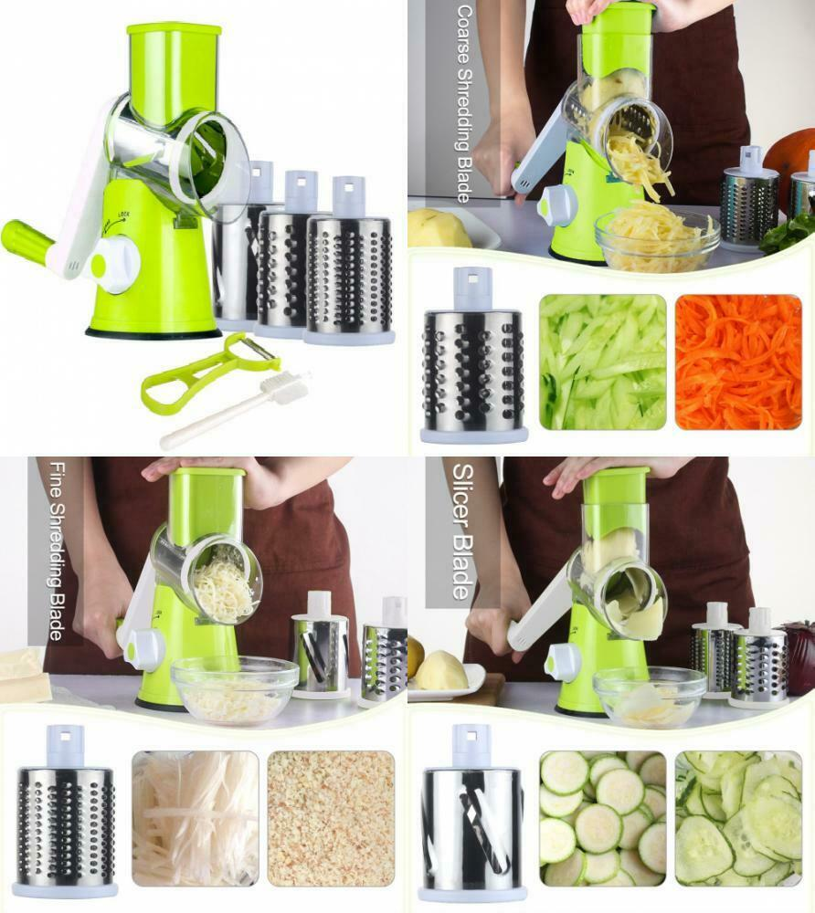 Hand Cranked Rotary Runner Bean Slicer Cutter Chopper Green Vegetable Shredder