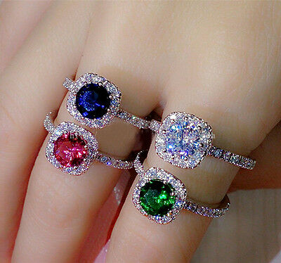 Size 5-11 Lady's 925 Silver Sapphire/Ruby/Emerald/CZ Ring Brand Jewelry Gift