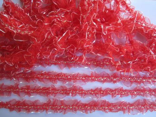 5 Meter 1 m x 5 stk. Spitze Nichtelastisch  Rot 3,5cm elegante  top mode