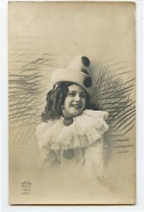 c 1910 Child Children CLOWN GIRL Pierrot photo postcard