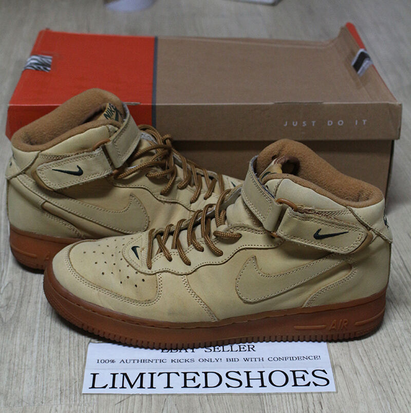 NIKE AIR FLAX FORCE 1 MID B FLAX AIR WHEAT 624039-221 US 11 sp liquid silver tisci high e679a0