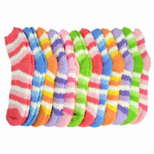 For Women/'s Soft Cozy Fuzzy Crew Striped Socks Winter Warm Slipper 3-10 Pairs