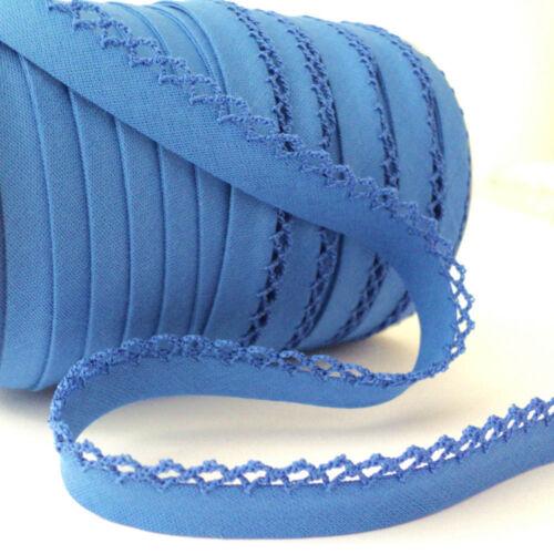 Cotton Fabric Trim Picot Lace Edge Plain Bias Binding Trim Mid Blue