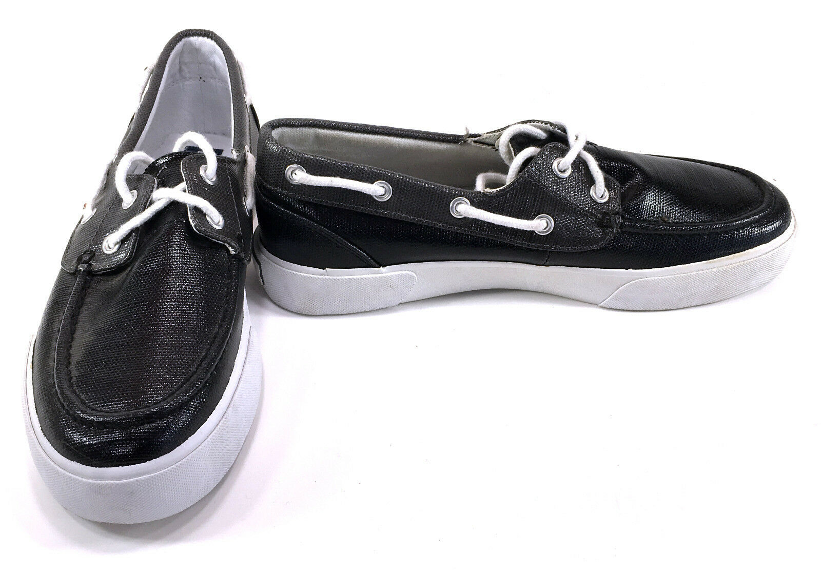 Polo Ralph Lauren Boat shoes Lander Coated Canvas Black White Topsiders Size 8