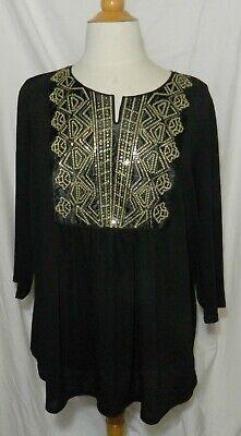 Status by Chenault Womens Black Tie-Sleeve Slit Blouse Top Plus 1X BHFO 2273