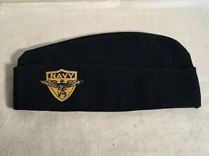 Vintage-WWII-USN-US-Navy-BLACK-Garrison-Side-Cap-hat-w-V-5-patch-PILOT-TRAINING