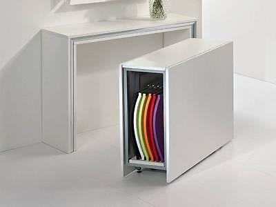 Mobile Porta Sedie Pieghevoli.Tavolo Consolle Moderna Archimede Con Tavolo Richiudibile E 6