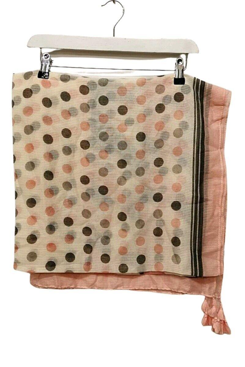 Pink, Grey & Cream Polka Dot Lightweight Scarf - One Size