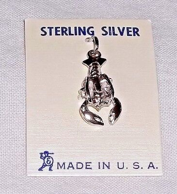 Vintage Sterling Silver 3D LOBSTER Charm by ELCO Still on Card NOS