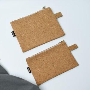 Natural Cork Vegan Leather Purse Wallet Pouch Travel Case Clutch Bag