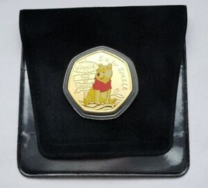 2019 Disney Winnie the Pooh Bear - S is for Smile 50p Gold Plated Medal Coin NEW