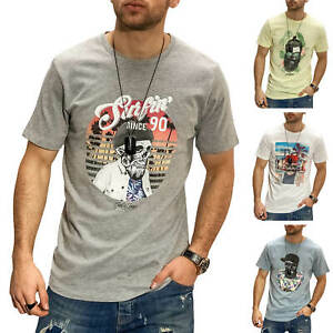 Jack-amp-Jones-T-Shirt-Hommes-Print-Shirt-manches-courtes-Shirt-Casual-Plage-Surfeur-SALE