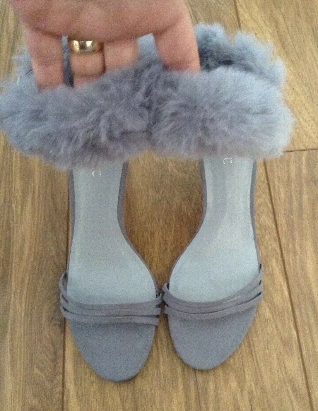 New *Next* (SZ Uk 6.5) Beautiful Strappy Fur Detail Sandals Stilleto Heels (EU40